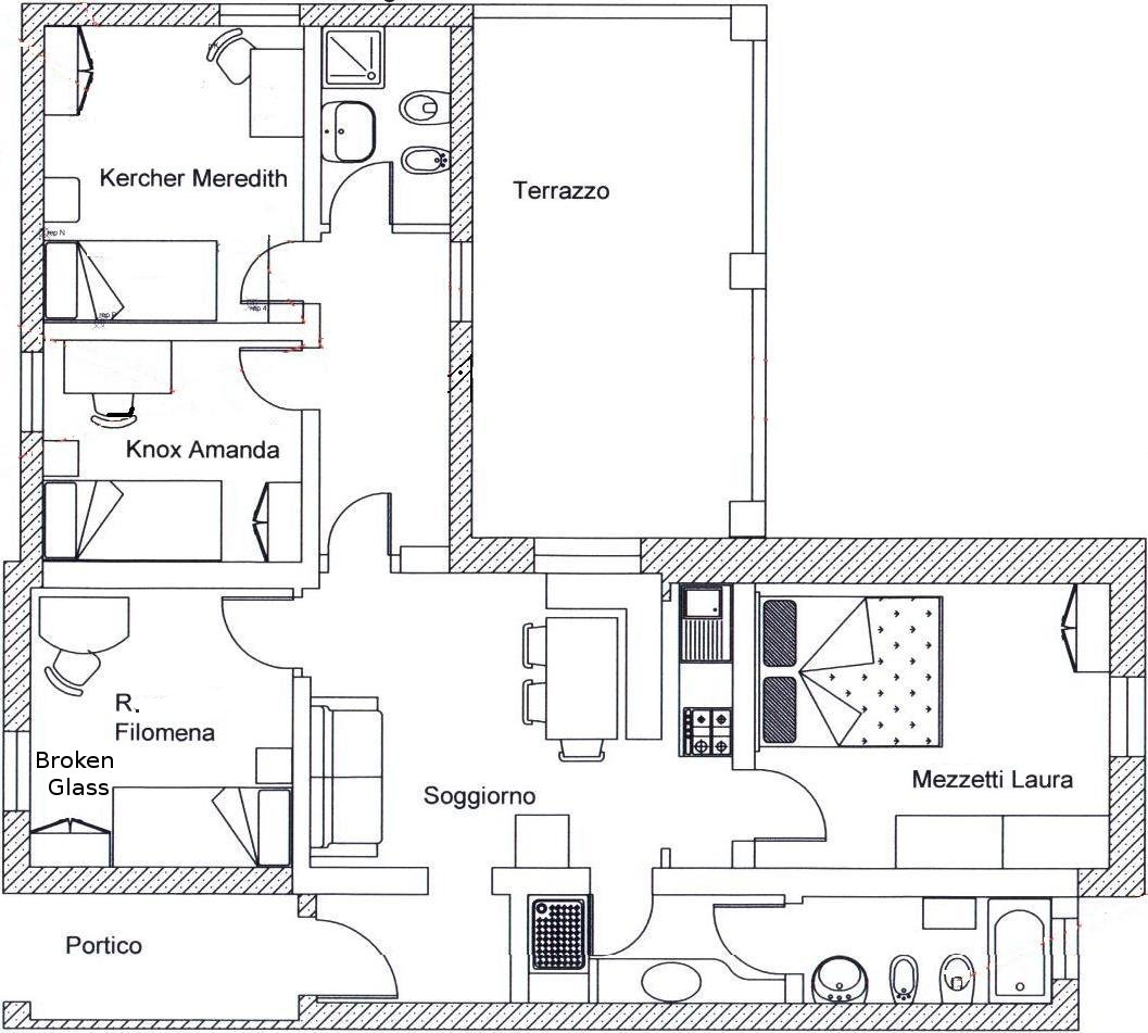 Floor plan of residence shared by Amanda Knox and Meredith Kercher. An Introduction   The Murder of Meredith Kercher