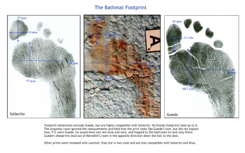 """Bathmat with bloody footprint that matches Raffaele Sollecito's foot"""